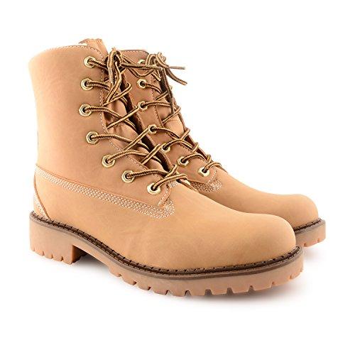 Damen Casual Schn眉rschuh, flach, gepolsterte Kn枚chel gegen Arbeitsstiefel Yellow Fleece Lined Boots