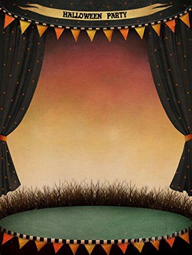 Halloween Kulissen für Fotografie Urlaub Partei Vinyl Kunst Stoff schwarz Vorhang Vintage Poster Stage Mauer Foto Studio Hintergrund 5× 7ft (Poster Halloween 7)