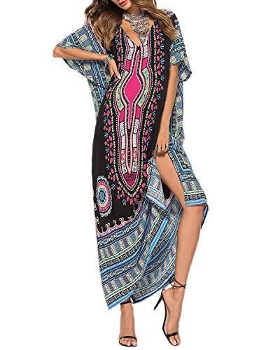 AUDATE Damen Sommer V-Ausschnitt Boho Tunika Kleid Casual Sommerkleid Kurzarm Strandkleid Partykleid Schwarz -