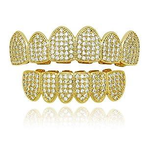 ChenYongPing Hip Hop Vergoldete Grillzähne von Hip Hop Gold Zähne mit Top Diamanten Imitation Hintergrund Strass Grillset 2 Farben Set Grillroste