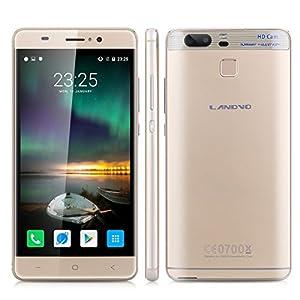 Landvo XM300 5.0 inch IPS HD Screen Unlocked 3G Smartphone Android 6.0 MT6580 Quad Core 1.3GHZ Mobile Phone Dual SIM Dual Camera Fingerprint 1GB RAM+8GB ROM Smart Wake Cellphone (Gold)