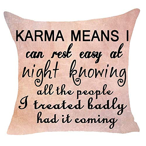jinhua19 Kissenbezüge Warning Karma Man i can Rest Easy at Night Knowing All The People i Treated Badly had it comingCushion Case Cotton Linen Material Decorative 18