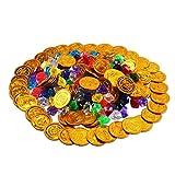KINDPMA Goldmünzen Piraten x 100 + Deko Diamanten Acry x 100 Plastik Gold Piraten Münzen Goldtaler Kinder Piratenschatz Spielzeug Mitgebsel für Schatzsuche Piratenparty Kindergeburtstag