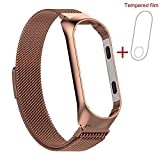 Für Xiaomi Mi Band 3 Armband, Milanese Magnetic Mesh Edelstahl Armband Milanese Uhrenarmband Replacement Armband + schutzfolie (Roségold)
