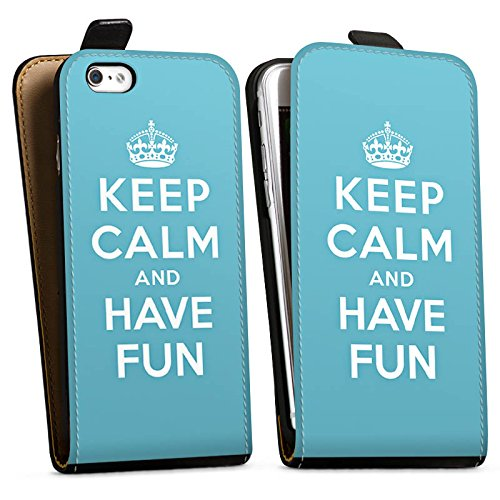 Apple iPhone X Silikon Hülle Case Schutzhülle Keep Calm Fun Spaß Downflip Tasche schwarz