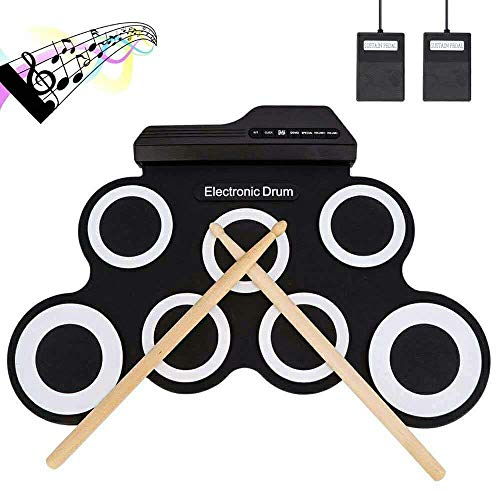 WMING Tragbare Roll-Up-Trommel, Electronic Digital Drum 7 Pad Kit Musical Practice Instrument mit 2 Foot Pedals Drum Sticks für Kinder für Kinder (Nicht eingebaute Lautsprecher)