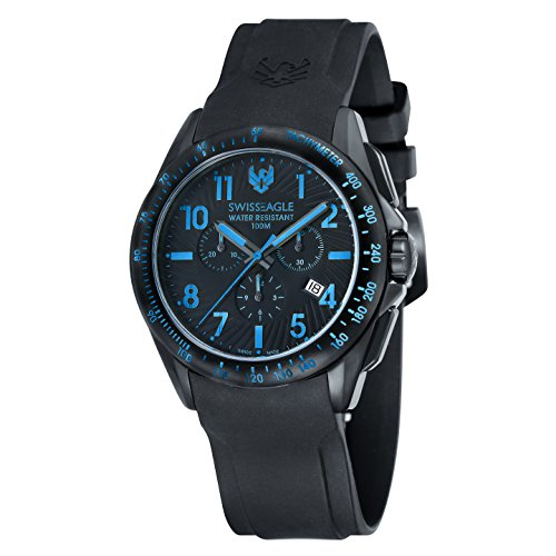 Swiss Eagle Men's Chronograph Tactical Field Quartz Watch with Black Dial Analogue Display and Black Silicone Strap SE-9061-06