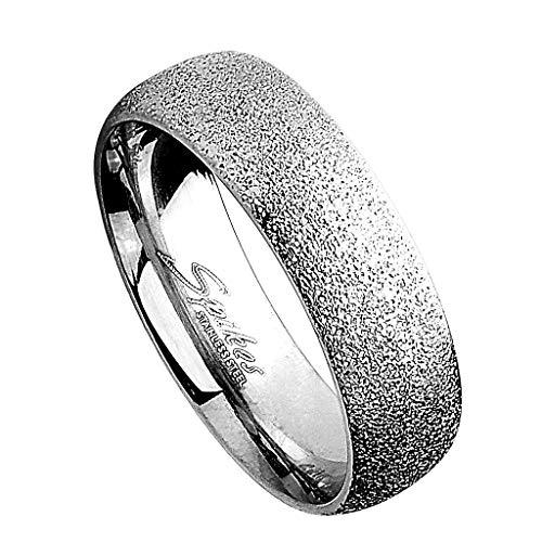 Piersando Band Ring Bandring Ehering Partnerring Trauring Verlobungsring Damen Herren Freundschaftring Glitzer Silber Größe 55 (17.5)