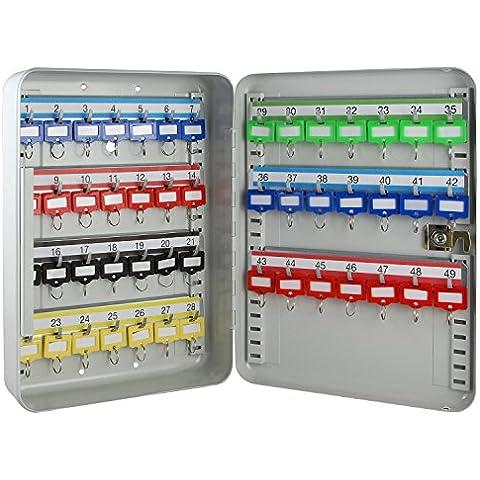 HMF 130497Caja para llaves (49ganchos ganchos ajustables, 32,0x 23,0x 7,5cm, color gris