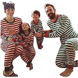 Juleya Conjunto de Pijamas de la Familia - Papá mamá Niños Trajes de Ropa de Dormir a Rayas de Pijama de Navidad bebé