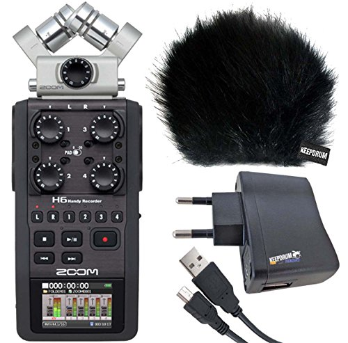 Zoom H6 Handy Recorder KEEPDRUM protezione antivento WSBK + adattatore bs510 + 1,5 m mini usb/cavo USB usb03