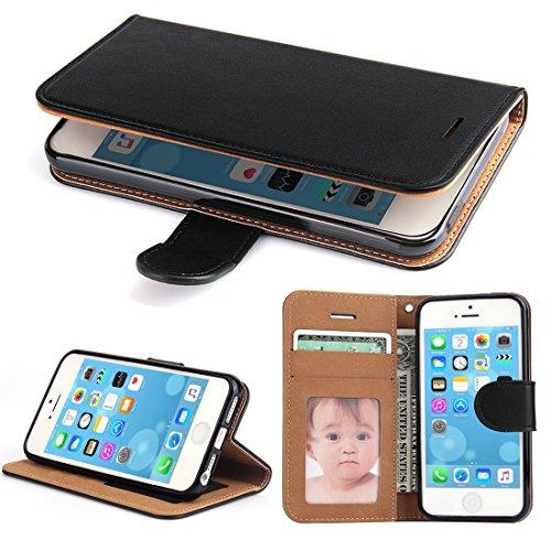 iPhone 5S Hülle, iPhone 5 Hülle, iPhone SE Hülle,SOWOKO Ledertasche Schutzhülle Flip Case Brieftasche Handytasche mit Magnetverschluss für Apple iPhone 5S 5 SE (Schwarz)