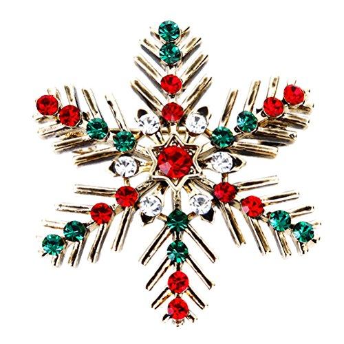 Tinksky Weihnachten Schneeflocke Brosche Pin Weihnachten Schmuck Geschenk für Frauen Mädchen Weihnachten Party Dress Up Dekorationen (Rot Schneeflocke Weihnachten Urlaub Kleid)
