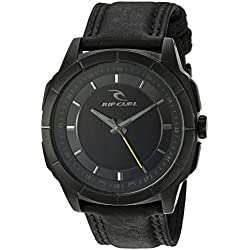 Rip Curl 'Mayhem' Quartz Stainless Steel and Leather Sport Watch, Color:Black (Model: A2947MID)