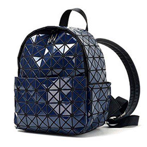 Frauen Lässig Rucksack Mini Kleiner Rucksack Einfach Laser-Paket Blue
