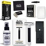✮ BARBER TOOLS ✮ Kit de afeitado - Maquinilla de afeitar + 5 cuchillas de doble hoja + caja de 50 cuchillas de doble hoja + bálsamo para después del afeitado 100 ml + piedra de alumbre 100% Natural