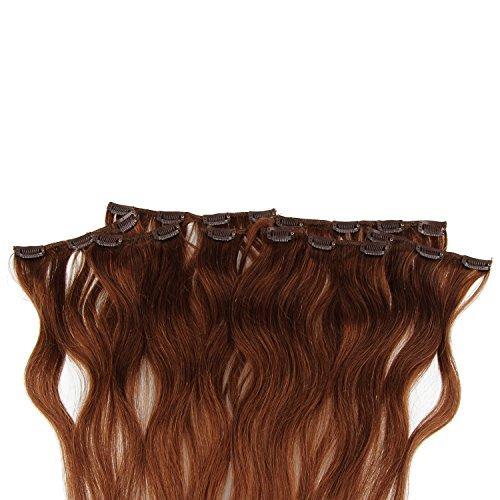 Beauty7 120g Extensions de Cheveux Humains à Clip 100% Remy Hair Haute Qualité #6 Couleur Medium Brown Longueur 60 cm