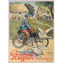 PEUGEOT ciclos de ciclismo Vintage VALENTIGNEY 250gsm cuadro decorativo brillante A3 de póster
