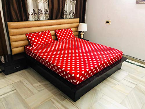 Magnetic Shadow Abstract Hearts Polycotton King Size Elastic Fitted Bedsheets (red)