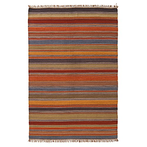 The Indian Arts Ooty Indio Kilim Alfombra Gris Rojo