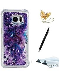 TOUCASA Funda Galaxy S7 Edge, Glitter Brillante Liquida Transparente TPU Silicona,Funda Móvil Case Líquido Quicksand Anti-arañazos Brillante Case Cover para Samsung S7 Edge-Atrapasueños