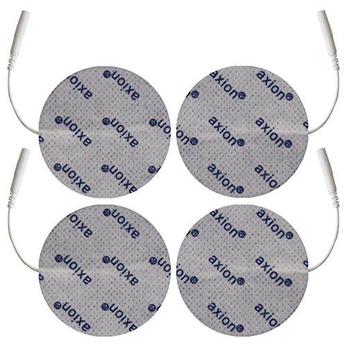 4 Electrodos para zonas amplias - Parches TENS EMS 7cm diámetro - Para electroestimuladores conexión banana 2mm - Almohadillas calidad axion
