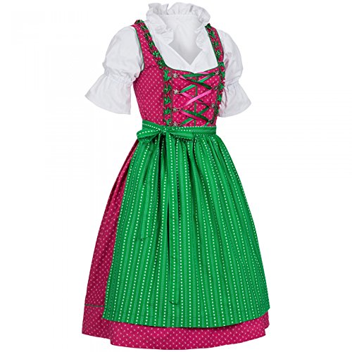 PAULGOS Dirndl Set 3 Teilig Emma, Trachtenkleid, Dirndl Bluse, passende Schürze, verschiedene Farben, Damen Größe:38, Farbe:Pink - Grün