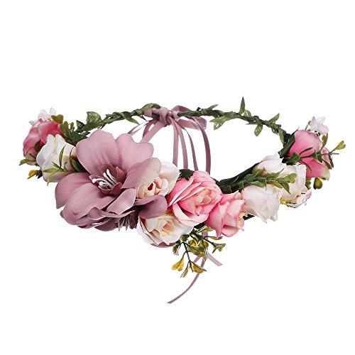 and Hochzeit Haarkranz Blume Krone (Bleich Malvenfarben) (Blume Kostüm Für Frauen)
