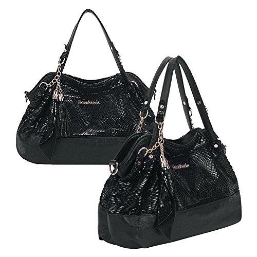 SHUhua Frauen-Schulter-Beutel-Art- und Weiseketten-Troddel-Sequined Handtasche black