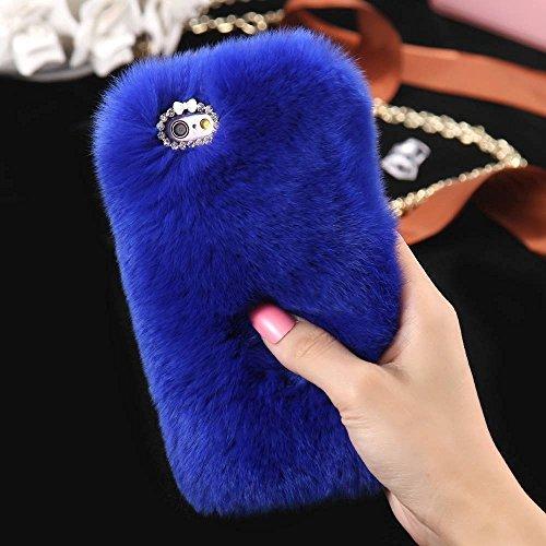FLOVEME Custodia per iphone se/5s in Pelo Artificiale Pelosa Morbida Protettiva Donna Ragazze Case Cover per iphone se/5s Nero Blu