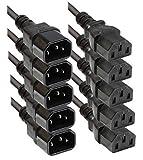 Kaltgeräteverlängerung 1m Faconet® Computer Netzanschluss-Verlängerung um 1 Meter (5 Stück 1.0m)