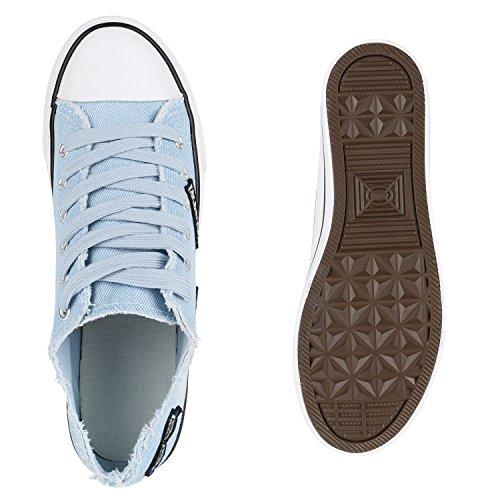 Damen Sneakers Spitze | Denim Sportschuhe Strass | Stoffschuhe Blumen Prints | Textil Schuhe | Sneaker Low Hellblau Jeans