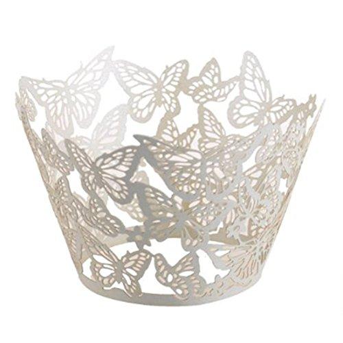 joyliveCY 50pcs Pearly Papier Schmetterlings Entwurf Vine Spitze Cup Cake Wrappers Tischdeko Weiß (Carrier-entwurf)