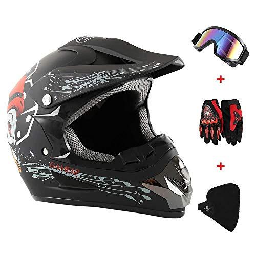 Motocicleta Casco De Cross Country, Traje De Protección: Casco De Moto + Gafas + Guantes De Moto + Máscara Hombre Mujer,Colour3