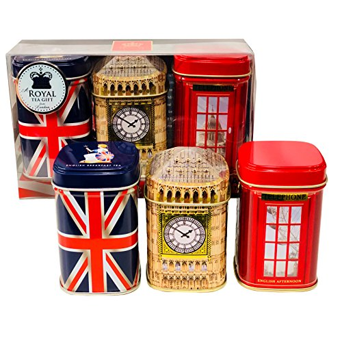 Exklusive English Tea ? London Erinnerungen, 3 x 50 g Tee Metall Caddys Kombination Geschenk Pack ? 1160