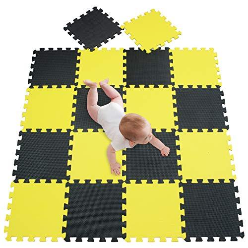 meiqicool tappeto da fitness a puzzle set di 18 pezzi | superficie di protezione per pavimenti,materassino per palestra,workout,ginnastica,tappetino facile da pulire,efficace contro i liquidi e urti