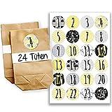 Papierdrachen Adventskalender Set - 24 braune Geschenktüten und 24 grau-gelbe Zahlenaufkleber - zum selber basteln und zum befüllen - Mini Set 21