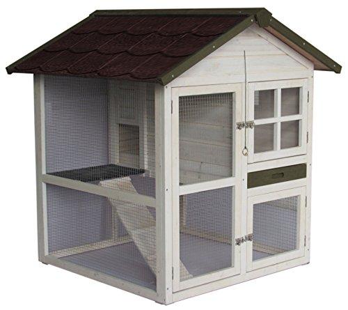 "A.K. for Pets 20092 Hasenstall ""Cottage"" 2 Etagen, 105 x 105 x 110 cm, weiß"