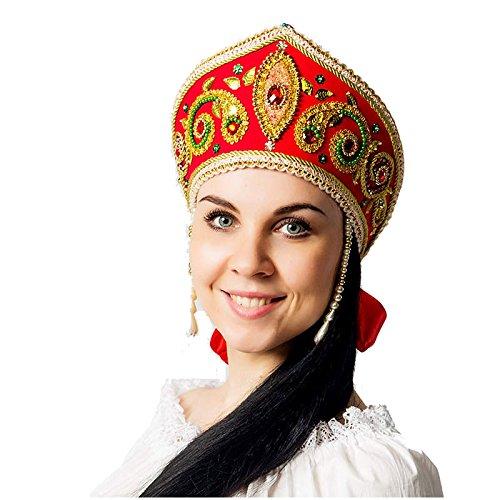 (russouvenir Kokoschnik, russischer Kopfschmuck 'Helena' Rot)