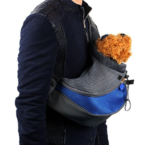 Kangrunmy Sling Bag Mesh Pet Dog cucciolo del gatto Carrier Blu