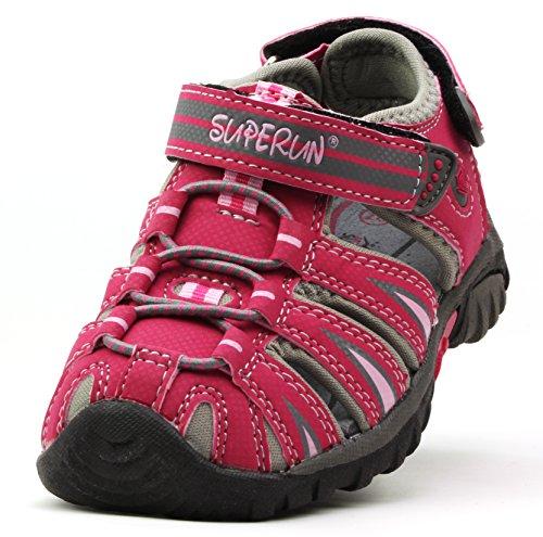 Superun Trekking-Outdoor-Freizeit-Kinder-Geschlossene Sandalen mit Klettverschluss (EU 25-36) Pink/Grau