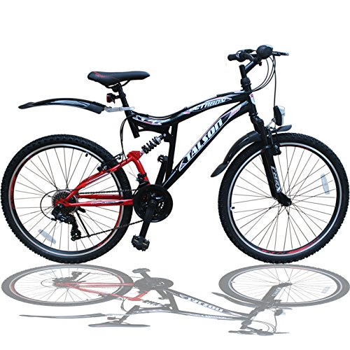 26 ZOLL MOUNTAINBIKE FAHRRAD MIT VOLLFEDERUNG & BELEUCHTUNG 21-GANG SHIMANO OXT RED
