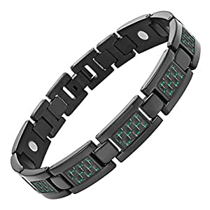 Willis Judd Mens Black Titanium Magnetic Bracelet With Green Carbon Fibre In Black Velvet Gift Box + Free Link Removal Tool
