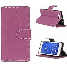 Voguecase® Para Sony Xperia Z3 Compact(Z3 mini) funda,(Retro esmerilado-rosa) Cuero Carcasa Funda Función de Soporte Cover Tapa Case Billetera con Tapa para Tarjetas+ Gratis aguja de la pantalla stylus universales