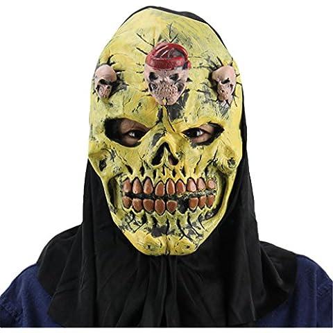Jiayiqi Hallowmas Adulto Ghost Máscara De La Máscara Del Demonio De La Noche De Color Amarillo