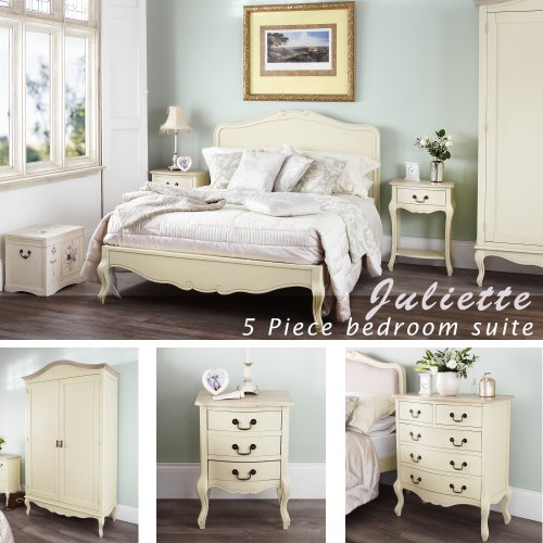 Juliette Shabby Chic Champagne Double Bed 5pc Bedroom Furniture Set Fully Assembled