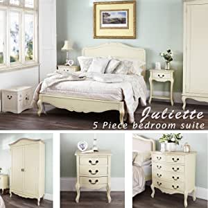 Juliette Shabby Chic Champagne Double Bed 5pc bedroom furniture set, FULLY ASSEMBLED