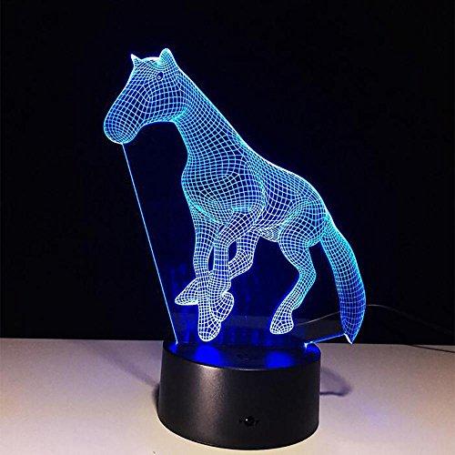 LPY-3D Lampe Pferd LED Illusion Tier Schreibtisch Tisch Nachtlicht, 7 Farbe Touch Lampe für Kinder, Mädchen, Familienurlaub Geschenk, Home Office Theme Dekoration
