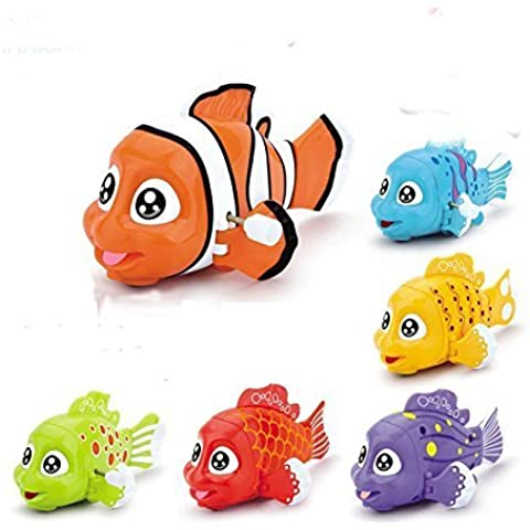 Cartoon Cute Gliding Animals Wind-up Toy Clockwork Small Cochain Toys Children's Early Educational Toys for baby 1-3 year old,6 pcs fish by LL-Partner