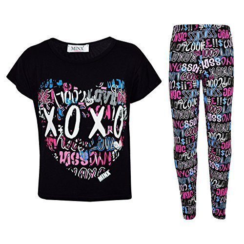 (A2Z 4 Kids® Kinder Mädchen XOXO Bedruckt Top & Cool Graffiti Leggings - Xo Set Black 7-8)